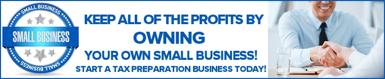 Keep all of the profits by owning your own small business! Start a tax preparation business for free today!